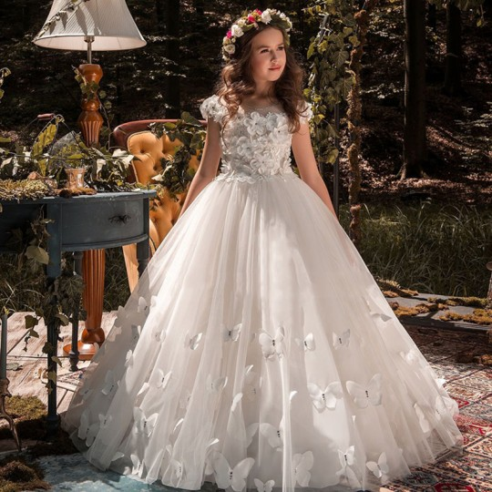 Vestito cerimonia bimba ragazza damigella Champagne